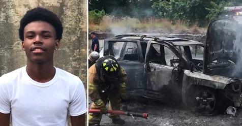Mutter und ihre drei kleinen Kinder aus brennendem Auto gerettet: Schüler (18) als Held gefeiert
