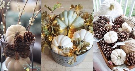Herbstdekorationsideen mit Kürbissen, um auf den Tisch zu stellen!