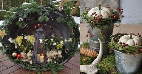 Alte Zinkbecken und Eimer eignen sich perfekt, um sie mit hübschen Herbst- und Winterdekorationen zu füllen!