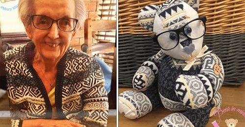 Frau hilft trauernden Familien, indem sie aus Kleidungsstücken der Verstorbenen kleine Teddybären schneidert