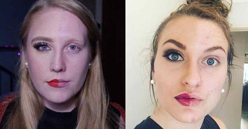 12 Frauen zeigen eine Hälfte ihres Gesichts ungeschminkt