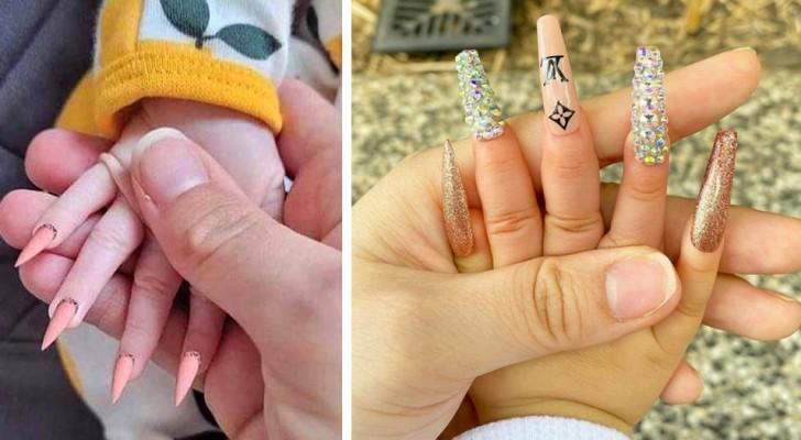 Eine Mutter wurde scharf dafür kritisiert, ihrer wenige Monate alten Tochter eine Maniküre verpasst zu haben