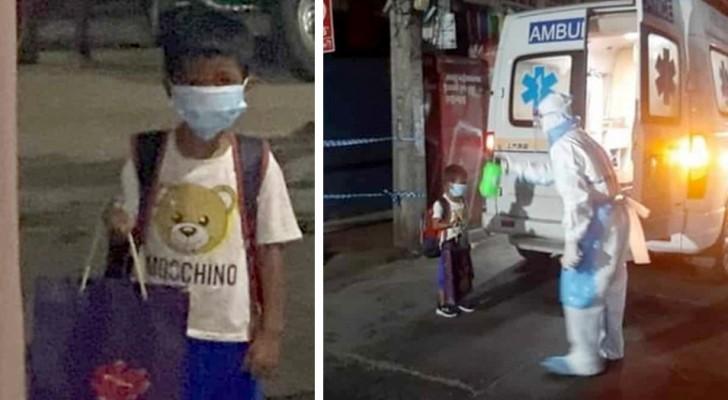 Sechsjähriger steigt allein in den Krankenwagen, nachdem er erfahren hat, dass er Covid 19 hat