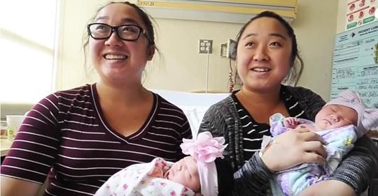 Identische Zwillinge bringen Regenbogenbabys am selben Tag zur Welt, nachdem beide Fehlgeburten erlitten hatten