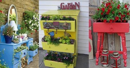 Auf der Suche nach etwas Originalem für den Garten? Verwandeln Sie alte Schränke in Pflanzgefäße.
