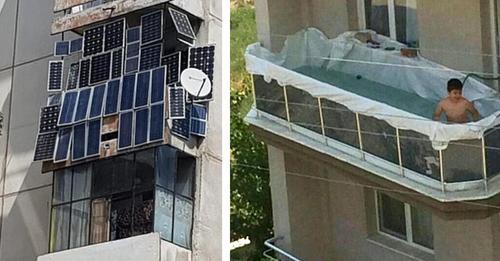 20 lustige Bilder von verrückten Balkonen