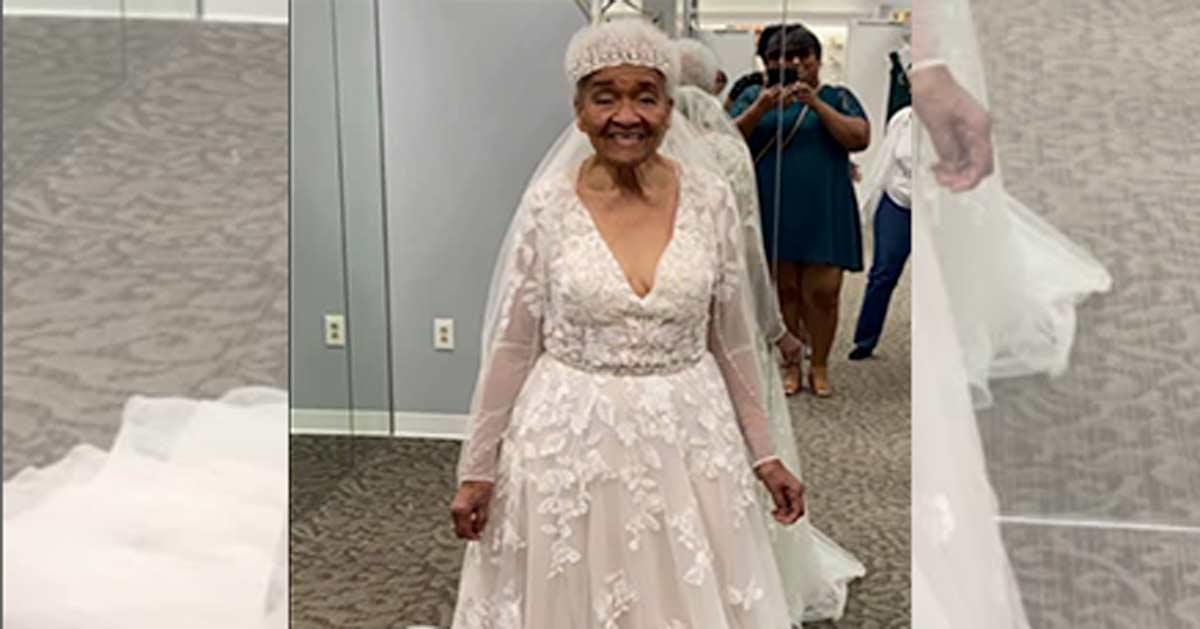 94 jährige probiert zum ersten Mal in ihrem Leben ein Hochzeitskleid an – und es steht ihr großartig